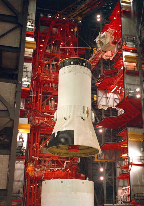 Apollo 4 Mating of the S-IVB Stage to the S-II Stage in the VAB [ST2]