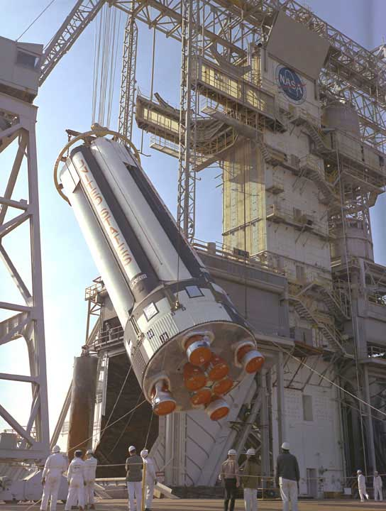 S-IB Booster Being Raised into the Static Test Stand [ST2]